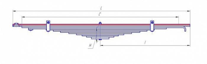 Лист № 1 рессоры передней усиленной УРАЛ-4320