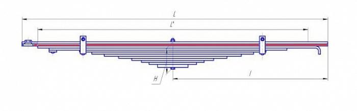 Лист № 2 рессоры передней усиленной УРАЛ-55571